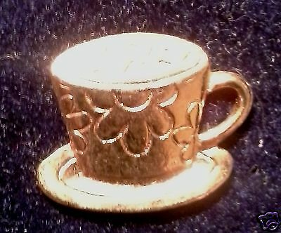 Collectible Tac-style pins - Coffee / Tea -- Cup & Saucer goldtone pin