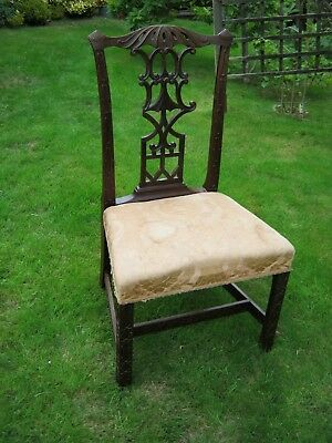 Chippendale Style Chinese Revival Carved Mahogany Dining Chair