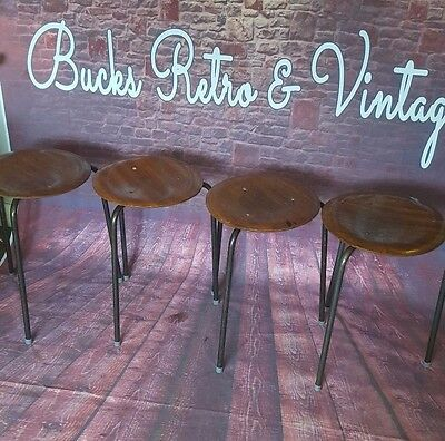4x Vintage Wooden Mid Century Industrial Stool Seat Lab School Stacking