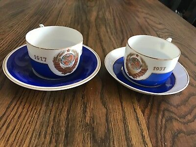 Soviet USSR Russian propaganda Porcelain Cups 20 Years Of Revolution Dmitrovsk
