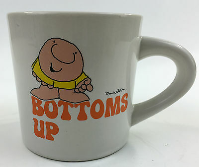 Vintage ZIGGY Coffee Mug Cup BOTTOMS UP Tom Wilson Stoneware Double Sided