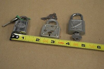 Antique Vintage Lot Of Three Small Collectable Padlocks With Keys