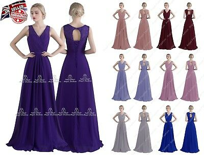 Long Chiffon Lace V Neck Evening Formal Party Ball Gown Prom Bridesmaid Dress