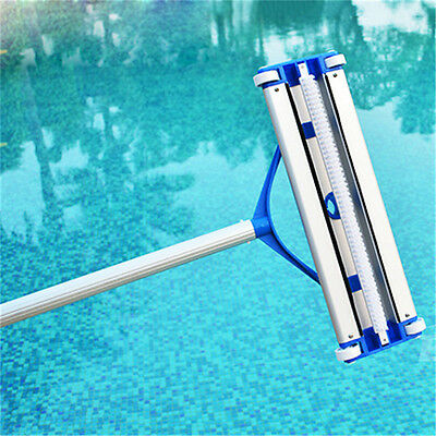 "14"" Curved Aluminum Residential Swimming Pool Bristle Cleaning Wall Back Brush"