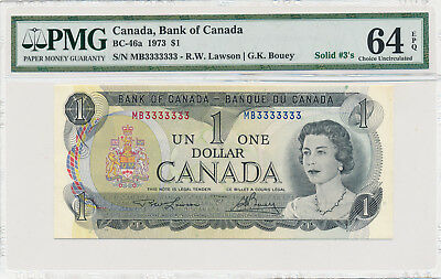 Bank of Canada 1 Dollar 1973 SOLID 3's BC-46a - PMG 64 Choice UNC EPQ