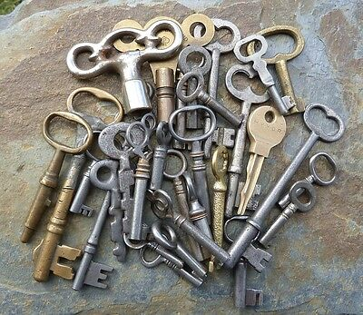 25 Assorted Antique Keys Clock , Furniture  Mortise Padlock Skeleton