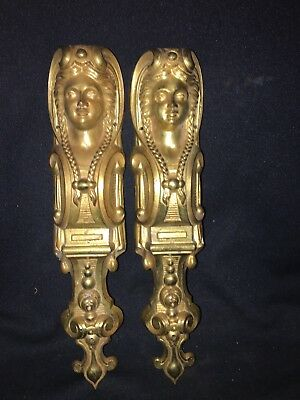 "Late 19th Century Pr 12 1/2"" Ornate French Brass Female Bust Pediment"