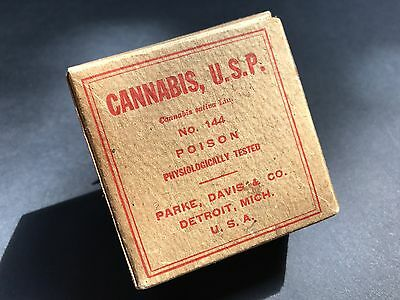 Vintage 1908 CANNABIS, U.S.P. BOX Parke, Davis Co EMPTY Mint / 2.5W x 2.5H x 1D