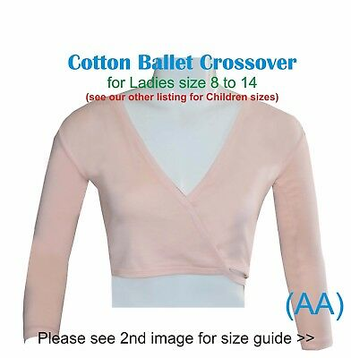 Peach Girls Ladies Ballet Crossover Cardigan Wrap Cotton Dance RAD ISTD (AA)