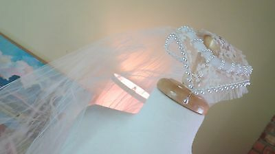 Vintage 1958 Mid Century Lace Bridal Wedding Veil Headpiece Tiara Pearls