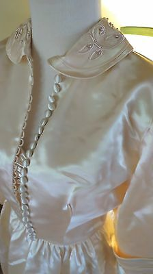 Vtg Liquid Satin Wedding Gown Dress Bolero Jacket. 1940s-50s. Never Worn! sz 4