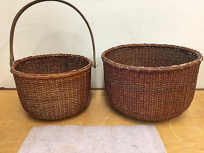 TWO NANTUCKET BASKETS -- ASA BROWN 20th C FOLK ART