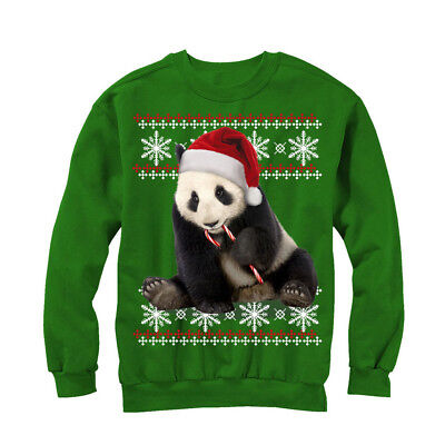 Lost Gods Ugly Christmas Sweater Panda and Candy Cane Womens Graphic Sweatshirt