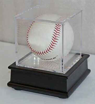 Ultra Clear UV Pro Baseball Holder Cube Display Case and Wood Stand Black
