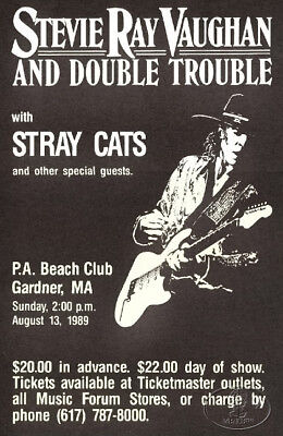 STEVIE Ray  VAUGHAN 1989 Concert Poster W/ Stray Cats