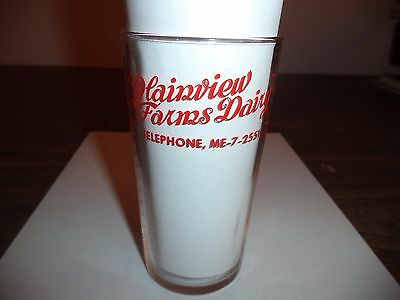 Vintage Plainview Farms Dairy Advertising Measuring Glass Red Lettering