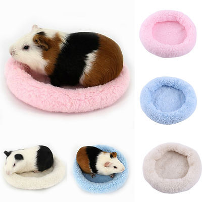 Fleece Guinea Pig Hamster Small Animal Winter Warm Round Mat Cage Sleeping Bed