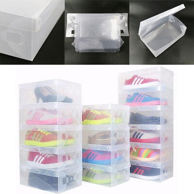 20 Pcs Clear Plastic Shoe Boxes Storage Stackable Tidy Organizer Box Foldable