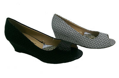 Ladies Shoes Bellissimo Fife Peep Toe Wedge Black, White and Black Size 5-10 New