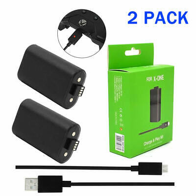 2 X Battery Pack for Microsoft XBOX ONE S SLIM Wireless Controller &Charge Cable