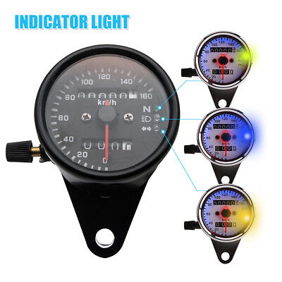 12V Universal Motorcycle Dual Speedometer Odometer KMH Gauge LED Signal Light