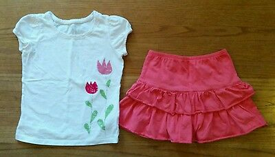 Lands' End  * 6 *  solid coral pink tiered ruffle skort  & tulip shirt to match