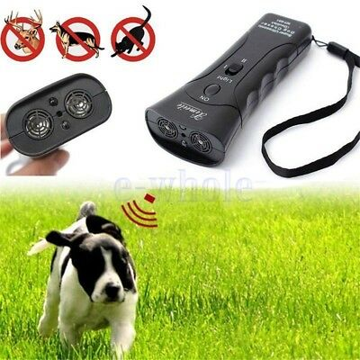Ultrasonic Dog Chaser Stop Aggressive Animal Attacks Repeller With Flashlight BE