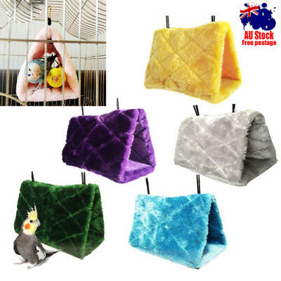 Bunk Parrot Toy Bird Hammock Hanging Cave Cage Plush Snuggle Happy Hut Tent Bed