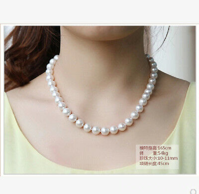 "natural 17.8"" AAA 8-9 MM SOUTH SEA NATURAL White PEARL NECKLACE 925 Sliver CLASP"