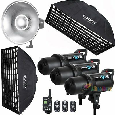 3Pcs Godox DS200 3x200W Studio Strobe Flash Light +Trigger +Softbox +Dish Kit