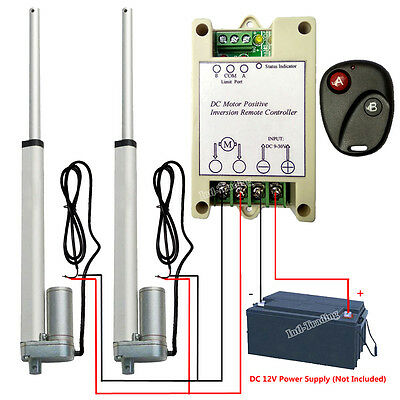 """2 Linear Actuator 10"""" 12V Motor W/ Remote Control 1000N/220lbs for Auto Car Boat"""