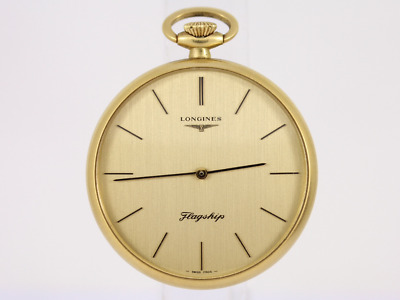 Longines Flagship Open Face Pocket Watch 18K Gold Gents Swiss Made Classic Bf71