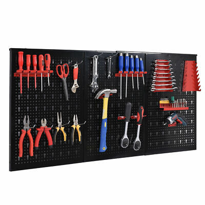 "24"" x 48"" Metal Pegboard Panels Garage Tool Board Storage Organizer Holder Black"