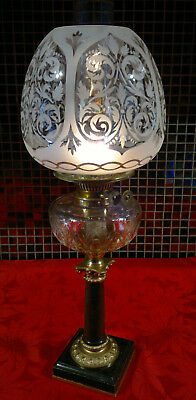"Victorian Oil Lamp Marble Base Cut Glass Font Duplex Burner 22.5"" Tall"