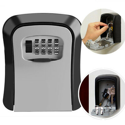 115mm 4 Digit Password Combination Lock Key Safe Security Storage Box Wall Mount
