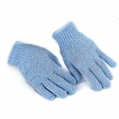 Pair Massage Friction Blue Gloves For Shower Bath T1O7