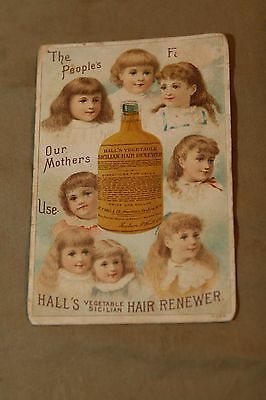 Antique Victorian Trade Card Advertising HALL'S VEGETABLE SICILIAN HAIR RENEWER