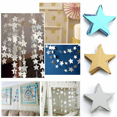 2M/4M Star Gold Paper Garland Bunting Party Wedding Baby Shower Decorations