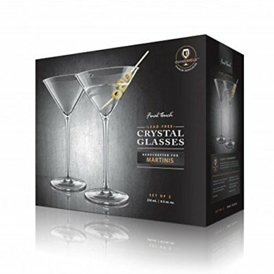 Final Touch Large Crystal MARTINI GLASSES Cocktail Drinking Party Set 250ml UK