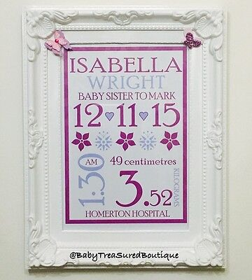 Personalised baby print with birth details, new baby christening gift, typograph