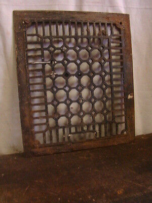 Antique Cast Iron Heating Grate Cover Unique Honeycomb Design 13.75 X 11.75