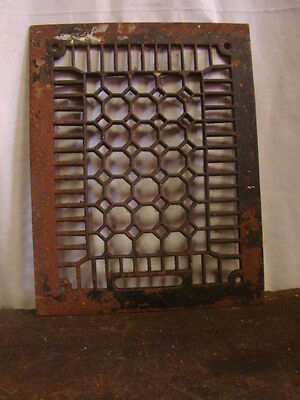 Antique Cast Iron Heating Grate Cover Unique Honeycomb Design 13.75 X 10.75