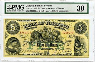 Canada: 1923 Bank of Toronto $5 Dollars PMG VF30 (H.B. Henwood - W.G. Gooderham)
