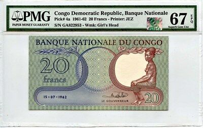 Congo Democratic Republic: 1961/62 20 Francs PMG/RQN 67 EPQ (P-4A) -