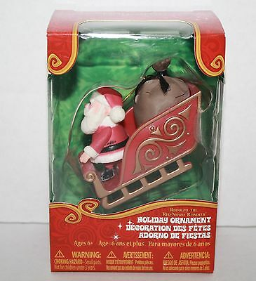 """RUDOLPH the Red Nosed Reindeer Christmas Ornament Santa with Sleigh 2.5"""" New"""