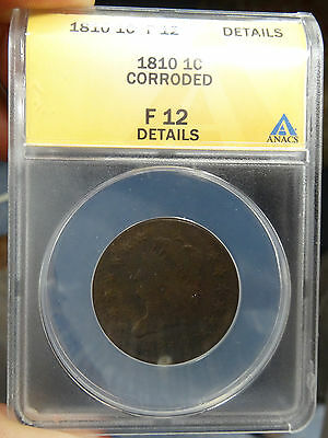 1810 Classic Head Large Cent ANACS F 12 details - free shipping