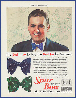Vintage 1931 SPUR BOW Tie Men's Fashion Hewes & Potter Ephemera Print Ad 30's