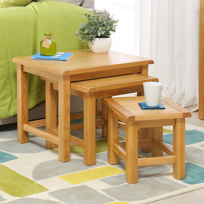 York Oak Nest of 3 Tables - Side Coffee Lamp Solid Living Room Furniture - YK03