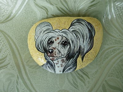 CHINESE CRESTED  HANDPAINTED PAPERWEIGHT - natural stone -#4