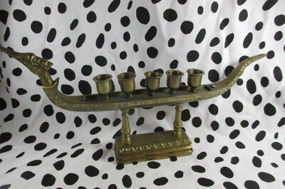 Vintage Sold Brass Asian Candle Holder Dragon Boat Chinoiserie Candelabra